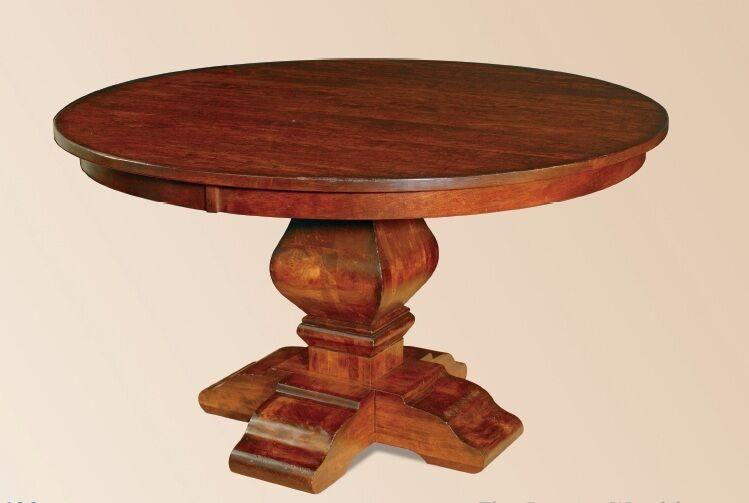 Amish rustic round pedestal dining table distressed solid for Solid oak dining table