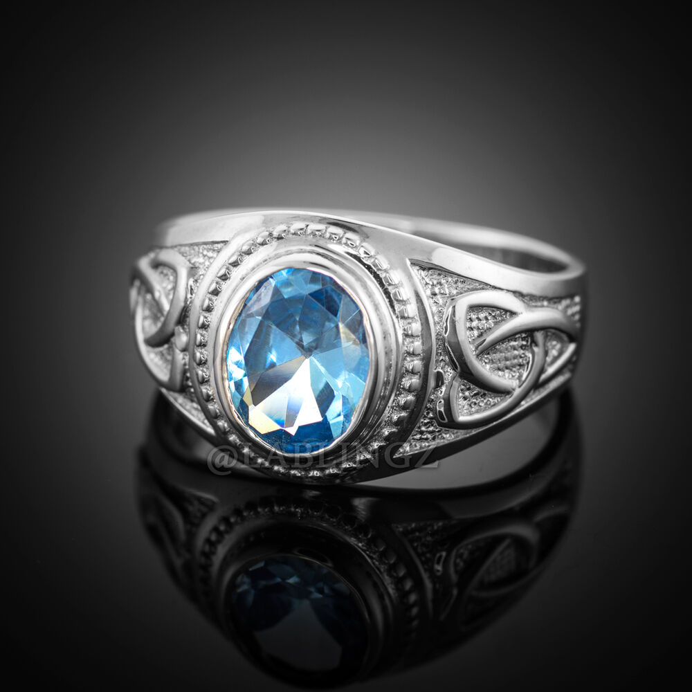 925 sterling silver celtic s cz ring with aquamarine