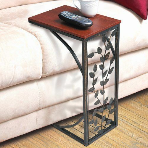 side sofa end table wood desk sofa chair tray slide under couch leaf accent ebay. Black Bedroom Furniture Sets. Home Design Ideas
