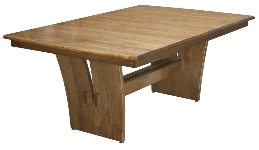 Amish rectangle trestle dining table modern contemporary for Wood modern dining table