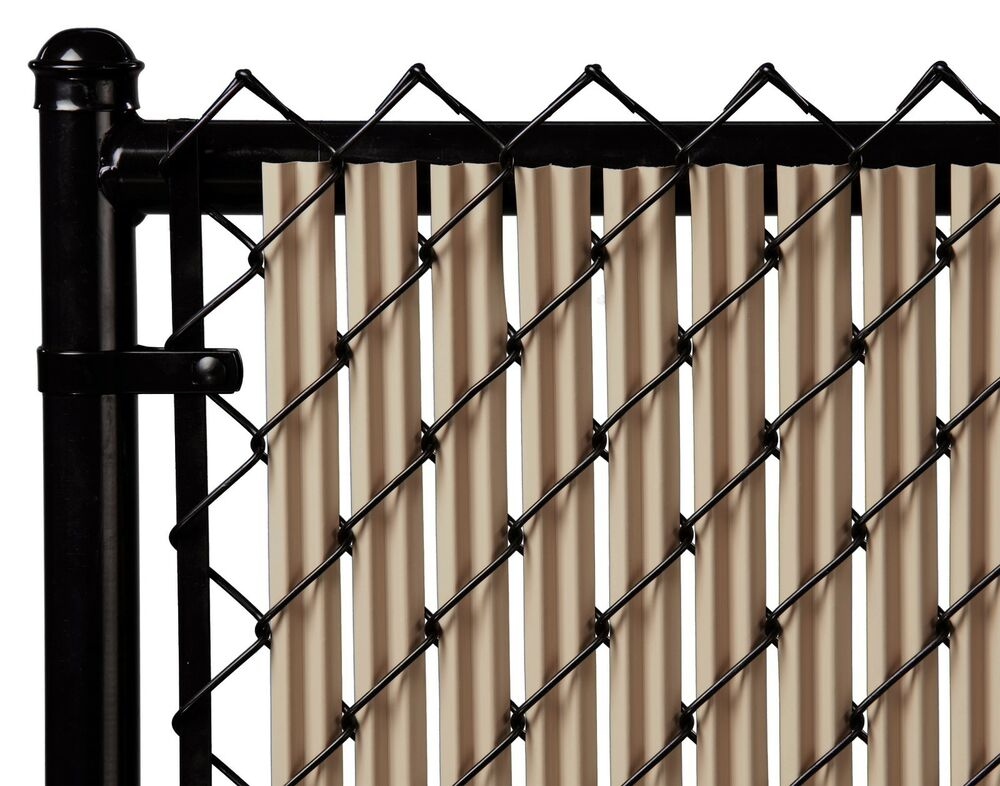 Chain Link Beige Single Wall Ridged Privacy Slat For 4ft