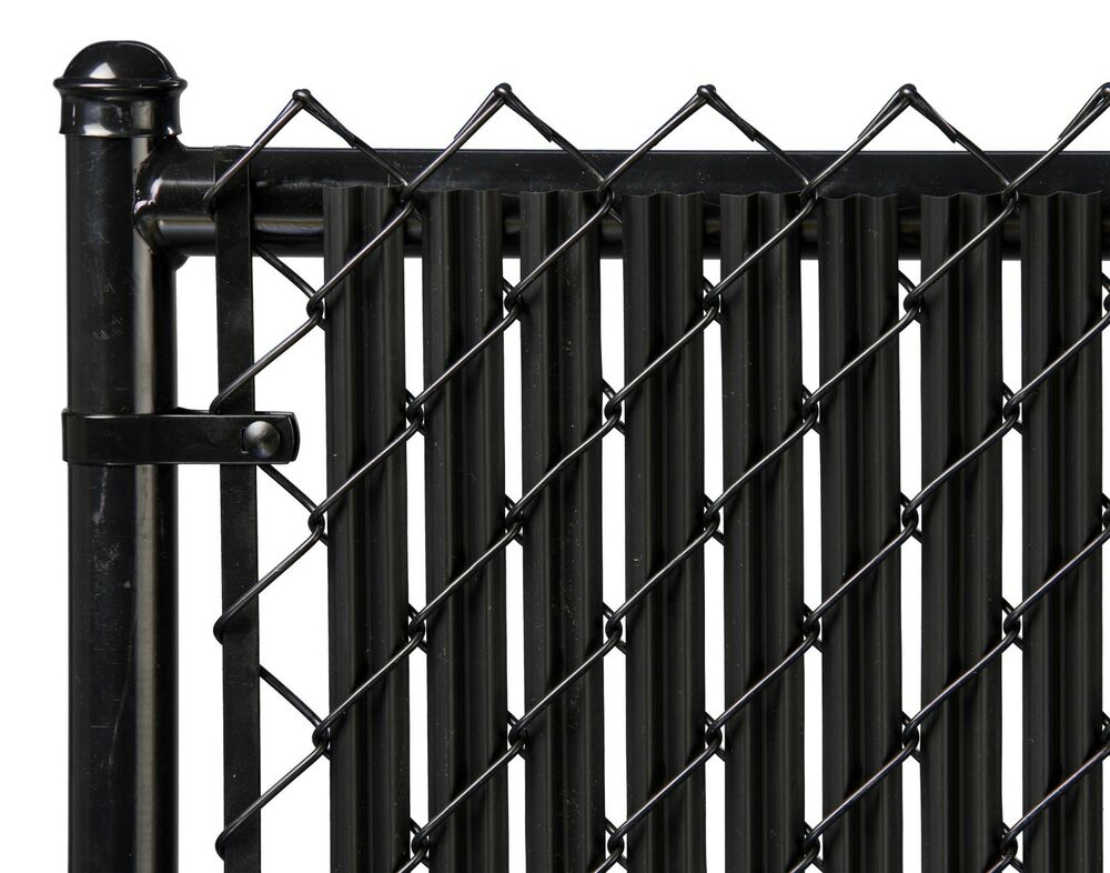 Chain Link Black Single Wall Ridged Privacy Slat For 4ft