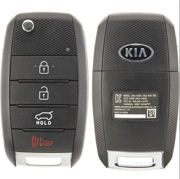 new uncut 4 button oem kia soul flip key osloka 875t fob. Black Bedroom Furniture Sets. Home Design Ideas