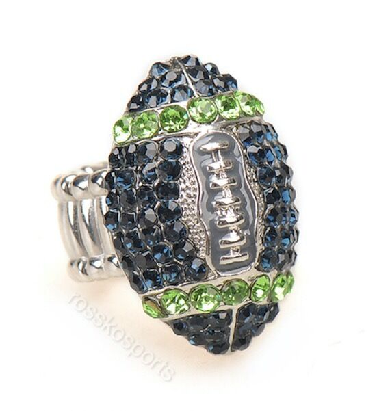 Seattle seahawks blue green rhinestone football ring for Sell gold jewelry seattle