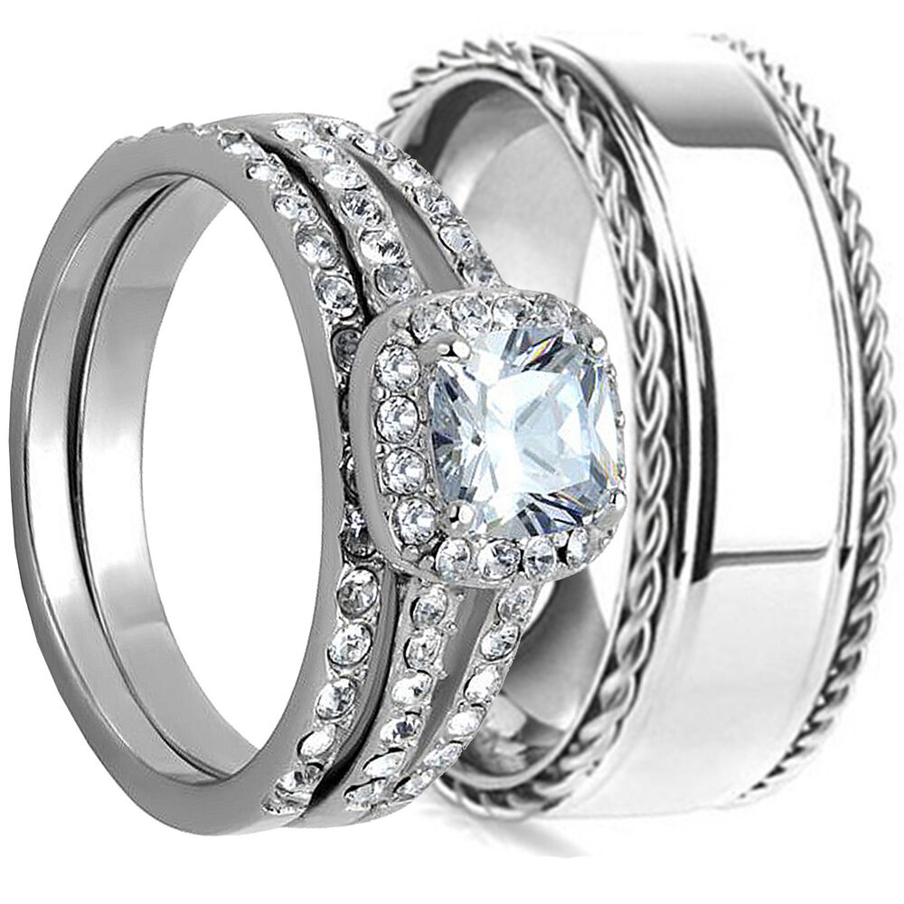 3pcs HIS HERS WEDDING RING SET MATCHING BAND MENS and WOMENS Stainless Steel