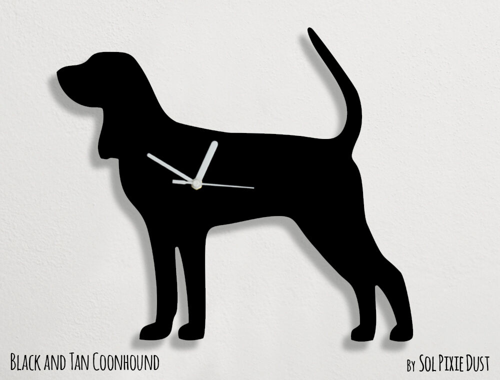 Black And Tan Coonhound Dog Silhouette Wall Clock Ebay