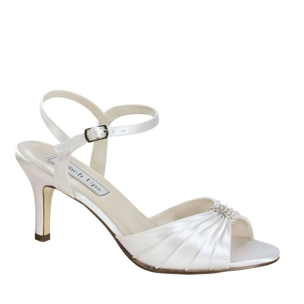 Bridal Shoes Wide Width: Pleated White Satin Low Heel Bridal Wedding Sandals Open