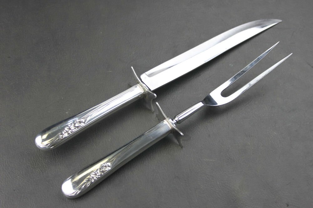 International quot blossom time sterling silver carving fork