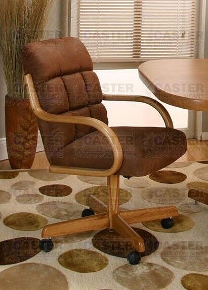 Casual Rolling Caster Dining Arm Chair Swivel Tilt Oak