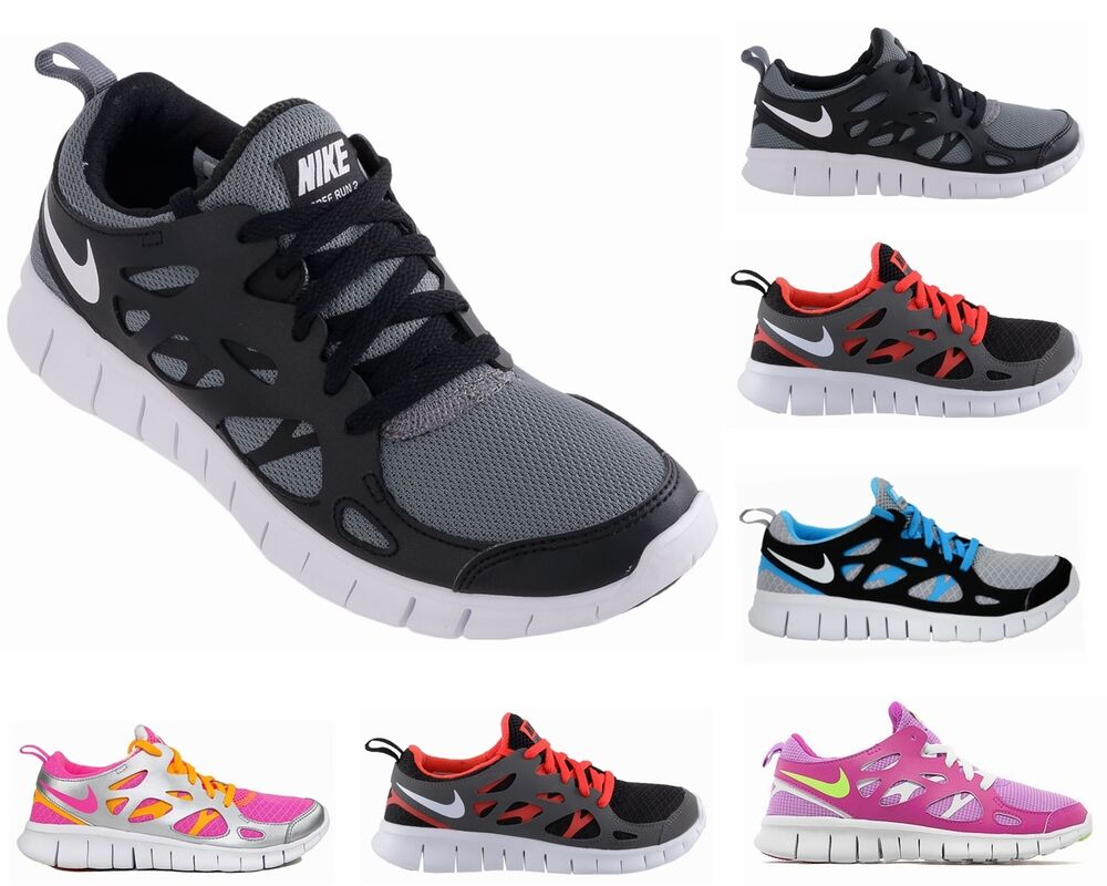 boys girls nike free run 2 gs grey black ladies runner. Black Bedroom Furniture Sets. Home Design Ideas