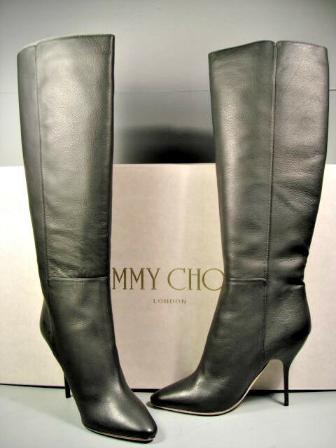 a6e3586cae7d Details about JIMMY CHOO DRAPE BLACK CALF LEATHER KNEE HIGH HIGH HEELS PULL  ON BOOTS 37 7 NEW