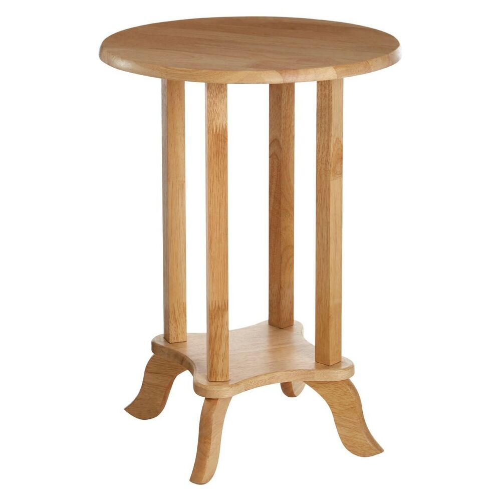 Round Top End Telephone Table Wood 2 Tier Lamp Stand Bedside Wooden ...