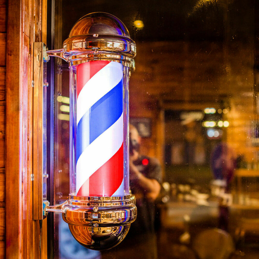 "30"" Barber Shop Pole Red White Blue Rotating Light Stripes"