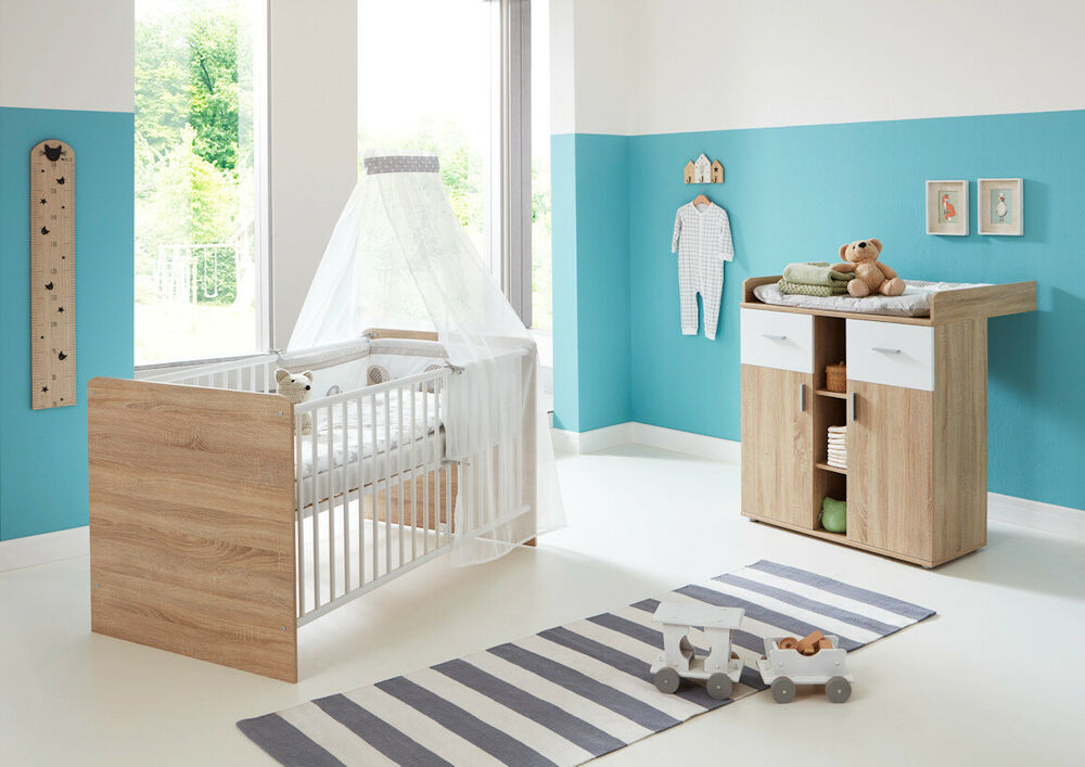 babyzimmer komplett kinderzimmer babym bel set babybett mit wickelkommode elisa ebay. Black Bedroom Furniture Sets. Home Design Ideas