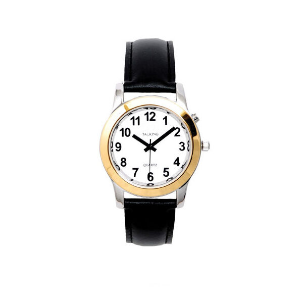 Women's Talking Watch Two Tone w/Black Leather Band for ...