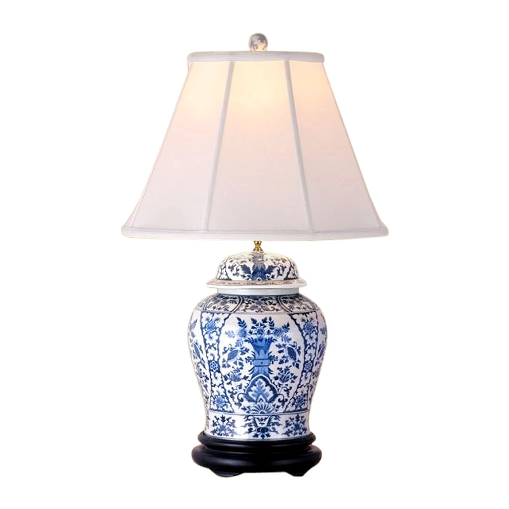 Beautiful Blue And White Porcelain Temple Jar Table Lamp