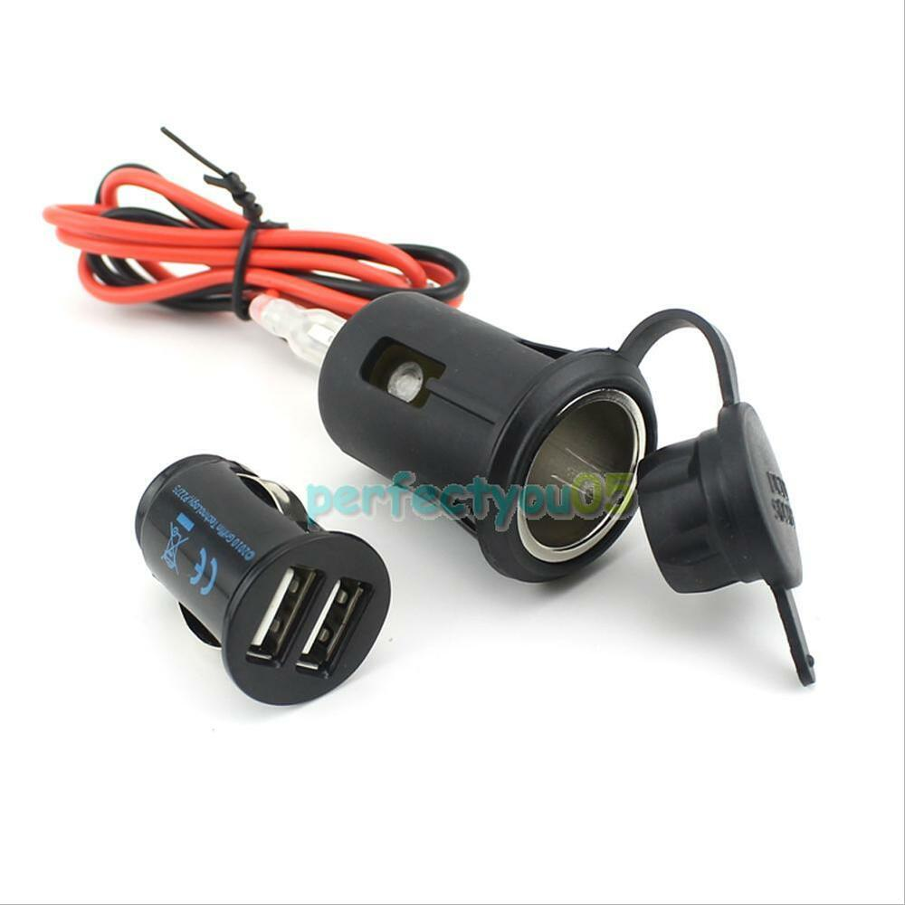 motorcycle dual usb mobile phone power supply charger port socket waterproof ebay. Black Bedroom Furniture Sets. Home Design Ideas