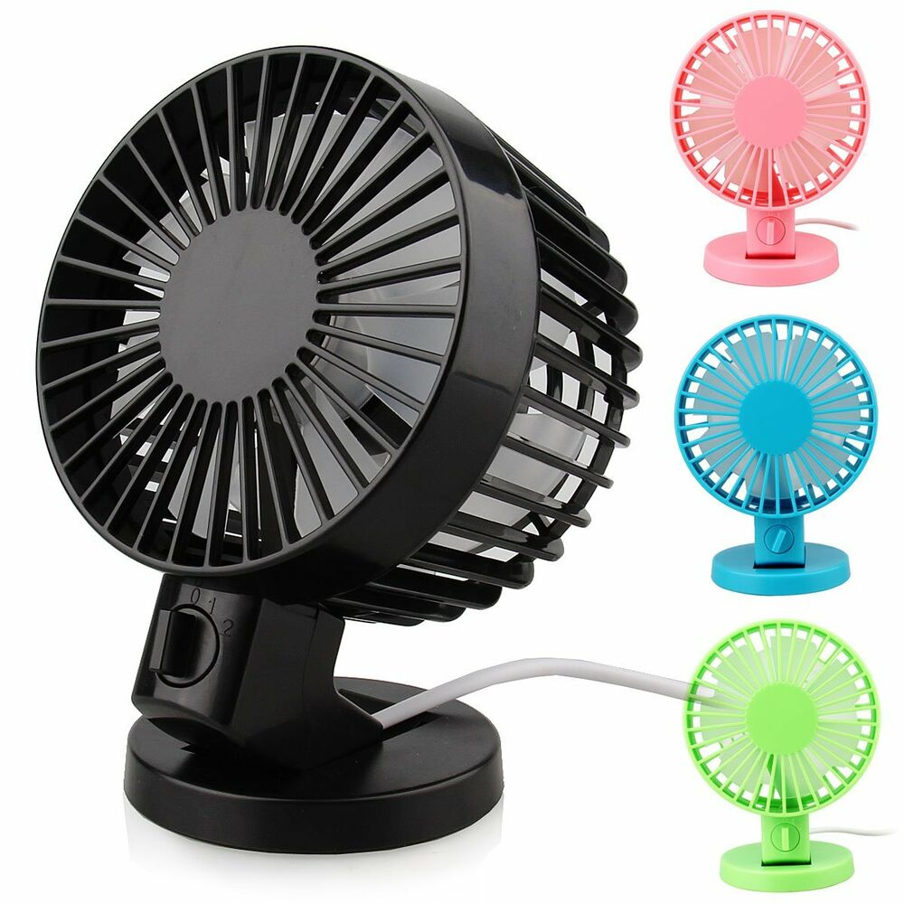 Small Desk Fan : Dual blade portable mute pc usb cooler cooling desktop