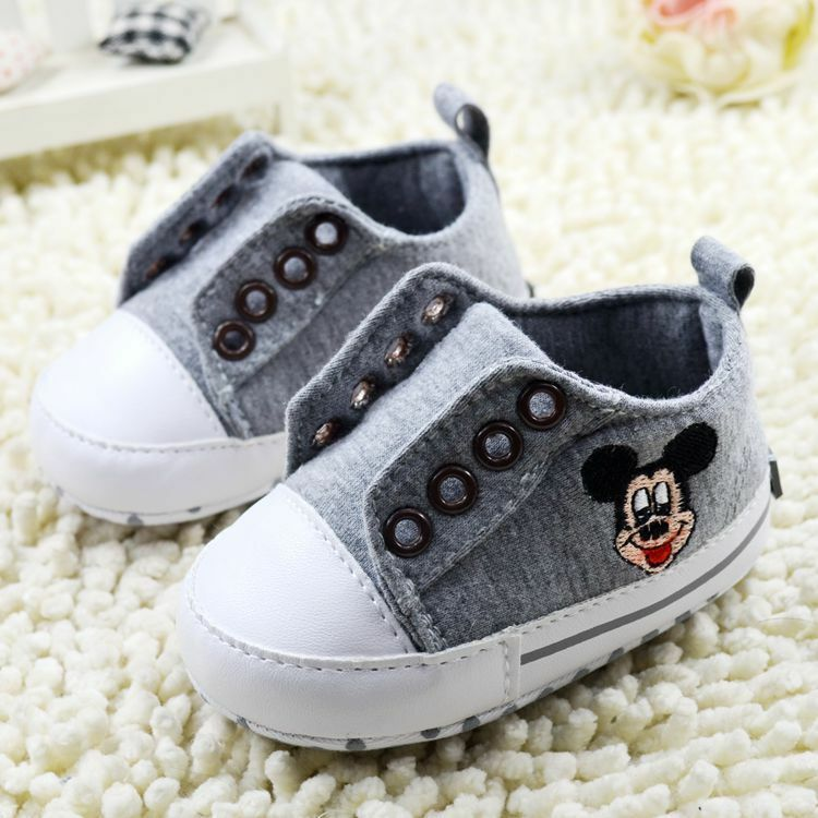 Infant Baby Boy Gray Mickey Mouse Crib Shoes Size Newborn ...