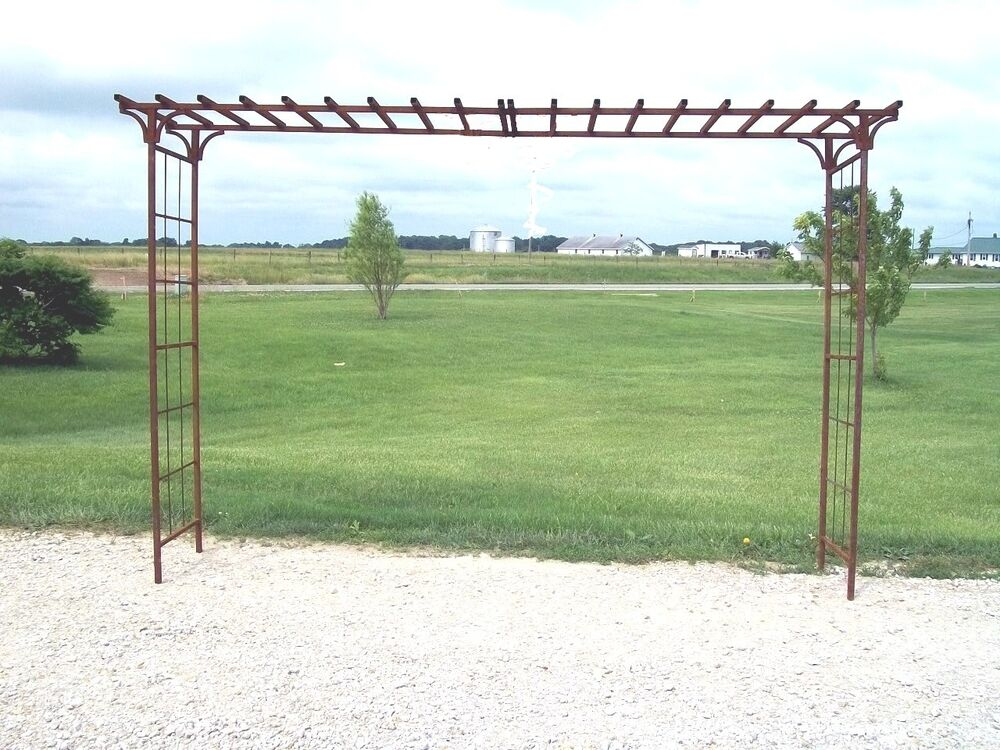 Extra wide x 101 5 tall metal garden mission arbor you for Trellis or arbor