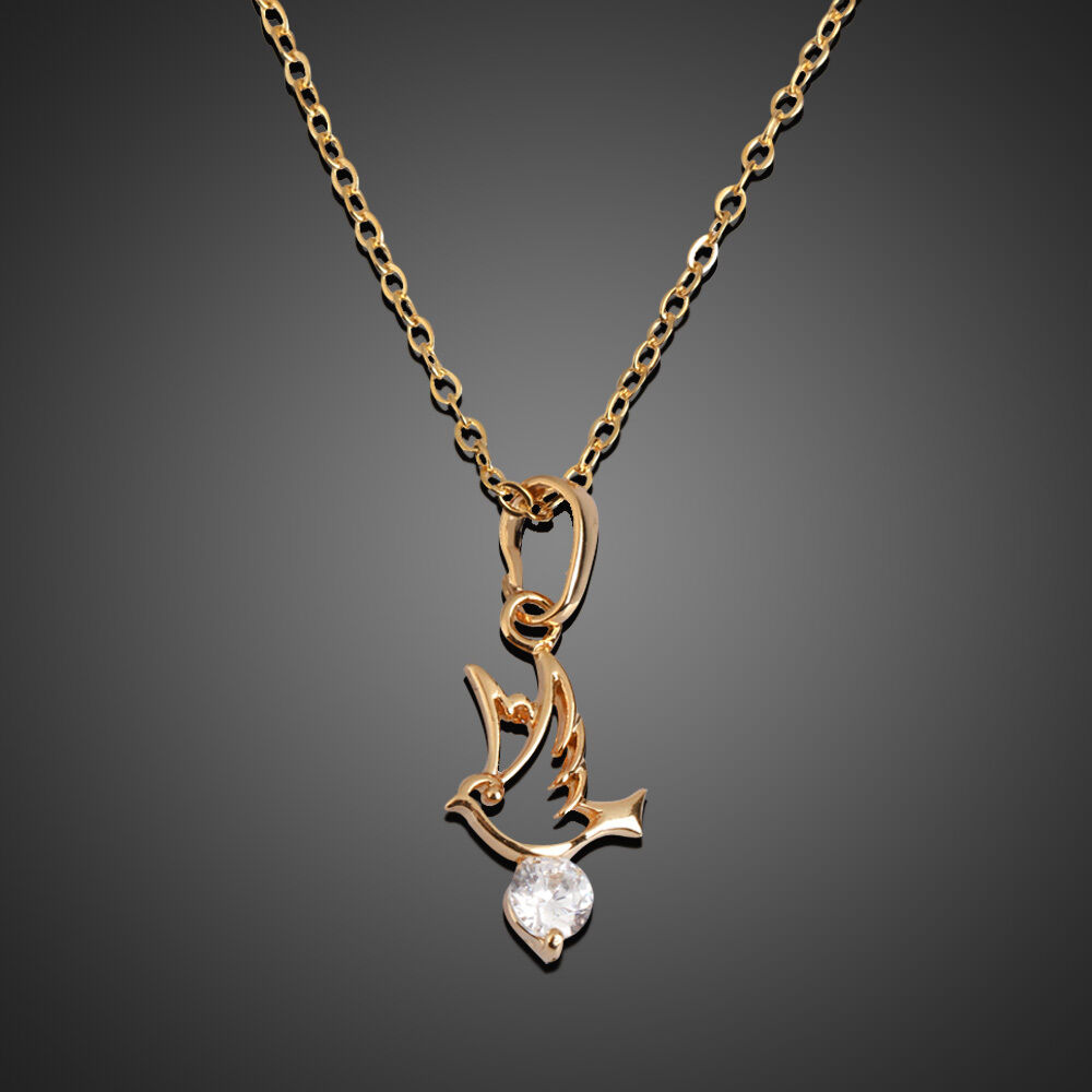 18k Gold Filled Womens Dove Pigeon Bird Crystal Necklace