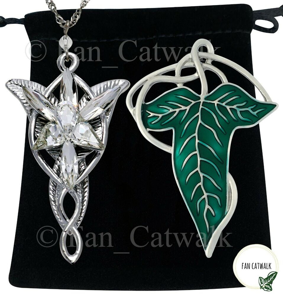 silver vein elven leaf brooch arwen evenstar necklace set