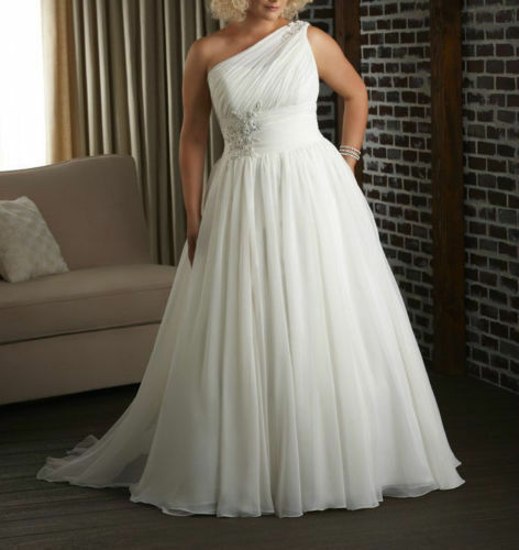 Plus Size One Shoulder Tulle Wedding Dress Bridal Gown
