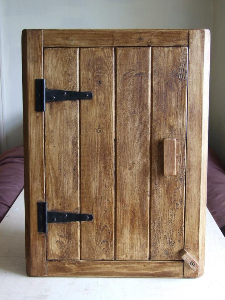Cottage Style Antique Solid Wood Corner Wall Cupboard