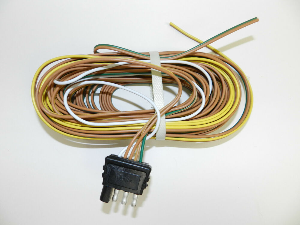 TRAILER WIRE HARNESS 4 WAY PLUG FLAT 25' TRAILER WIRING ...