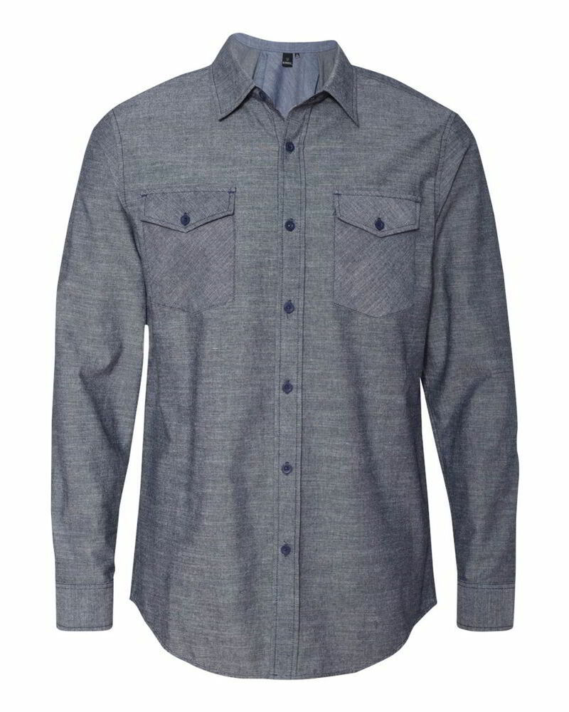 Burnside Chambray Cotton Polyester Long Sleeve Mens Shirts