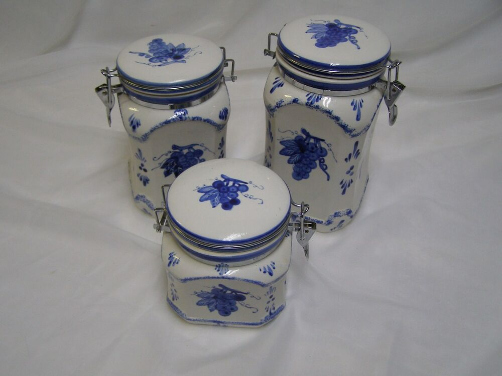 French Country Ceramic Canister Jars With Hinged Clamp