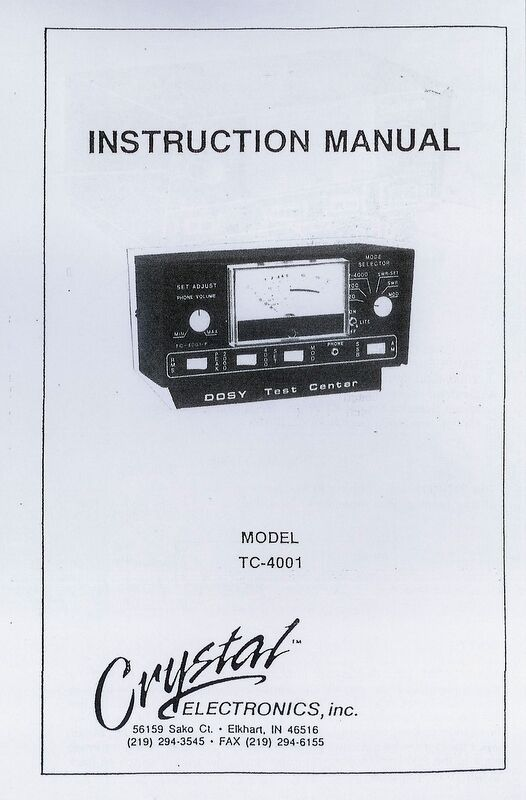 Dosy Tc 4001 Cb Radio Test Meter Owners Manual Schematic Swr