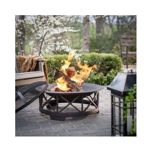 Patio fire pit black fireplace wood metal grill cover back for Buy outdoor fire pit