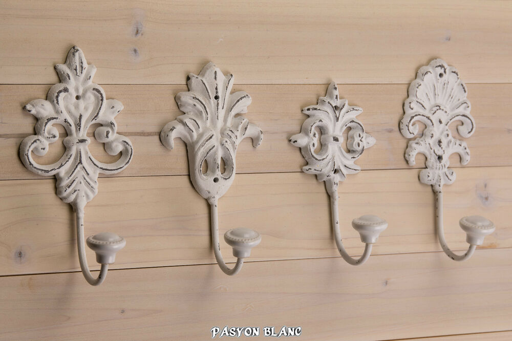 haken wei metall wandhaken garderobenhaken kleiderhaken shabby chic landhaus ebay. Black Bedroom Furniture Sets. Home Design Ideas