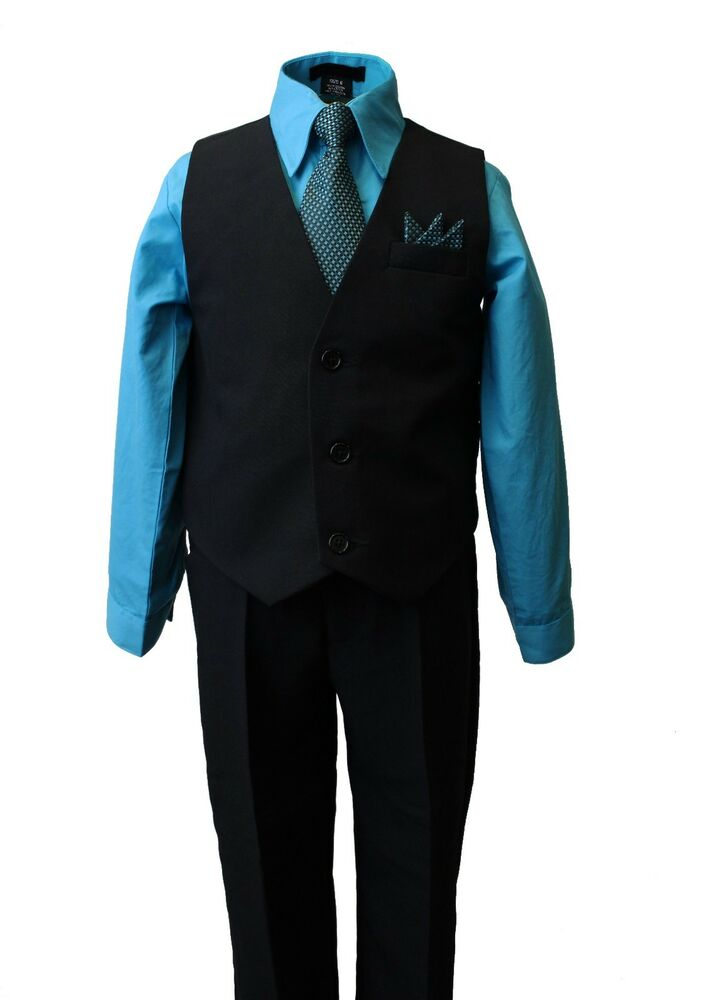 boys formal vest set with turquoise blue dress shirt and