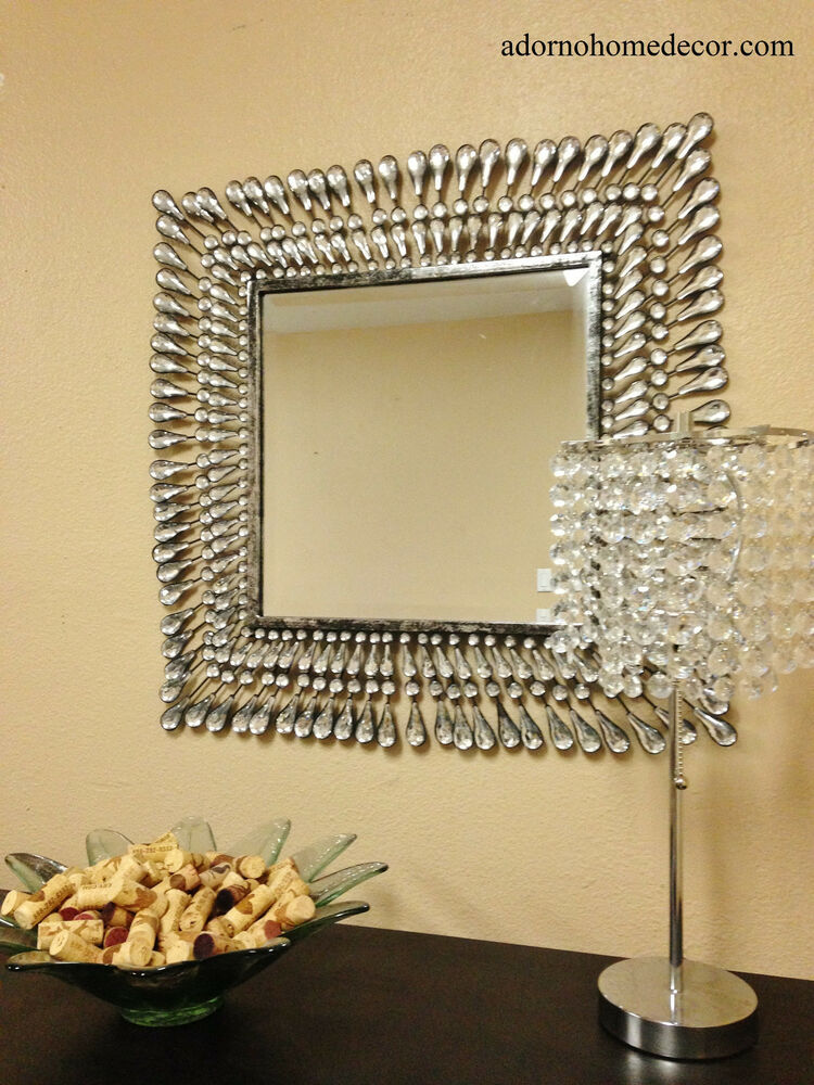 Metal wall square crystal mirror rustic modern crystal for Mirror decor