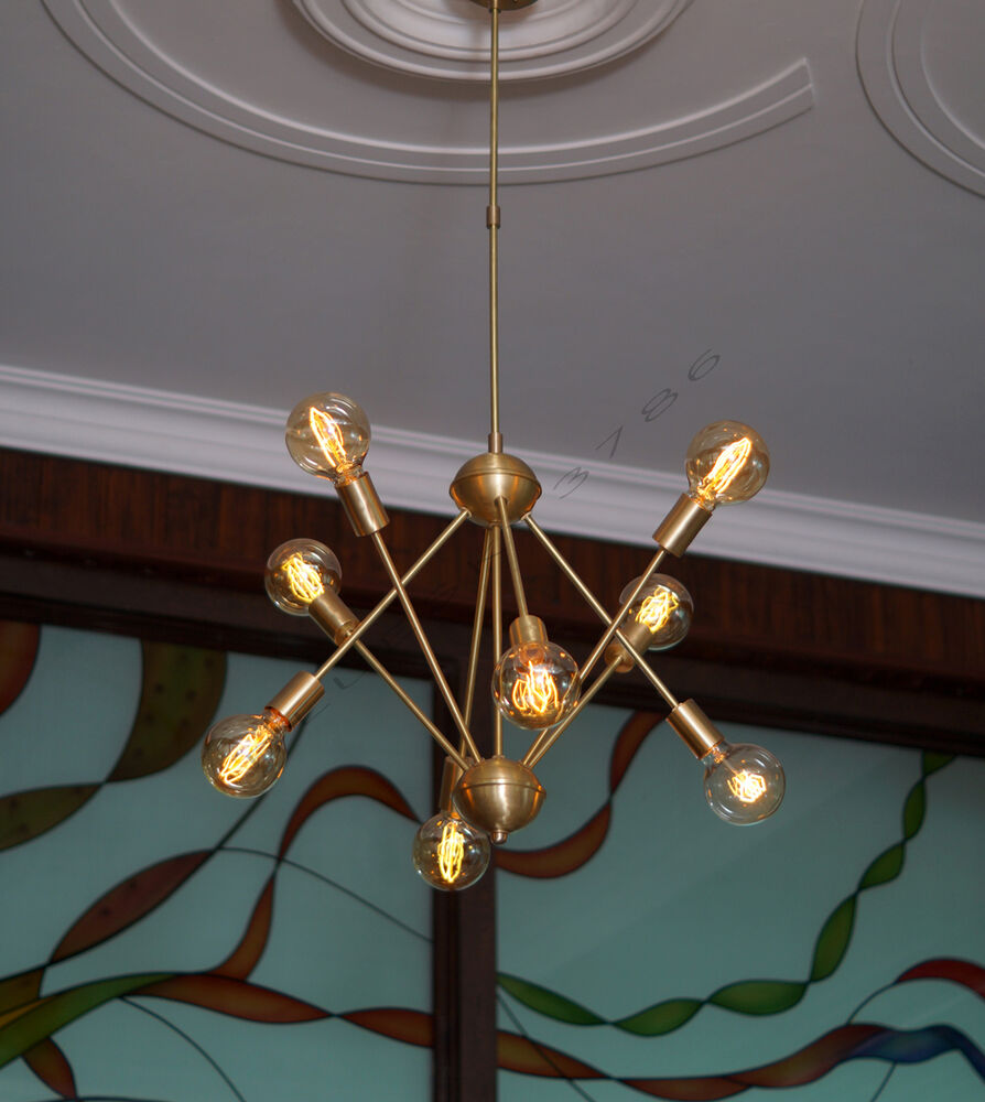 Mid century brushed brass sputnik starburst chandelier for Mid century modern pendant light fixtures