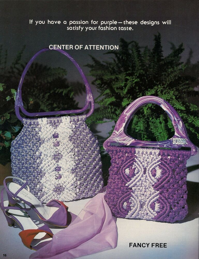 Macrame Purse Patterns Free : ... Handbag Patterns - Craft Books:#7499 Macrame Purse Boutique eBay