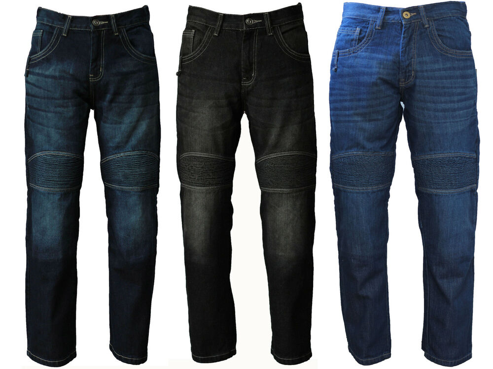 Avvento Men's Motorcycle Motorbike Jeans Biker Denim ...