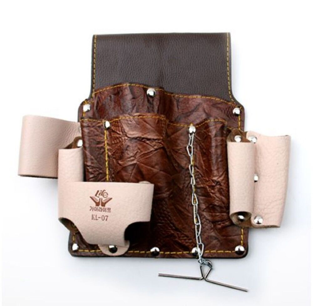 Leather Wall Equipment Holder: Multi Purpose 10 Pocket Hand Tool Leather Holder For