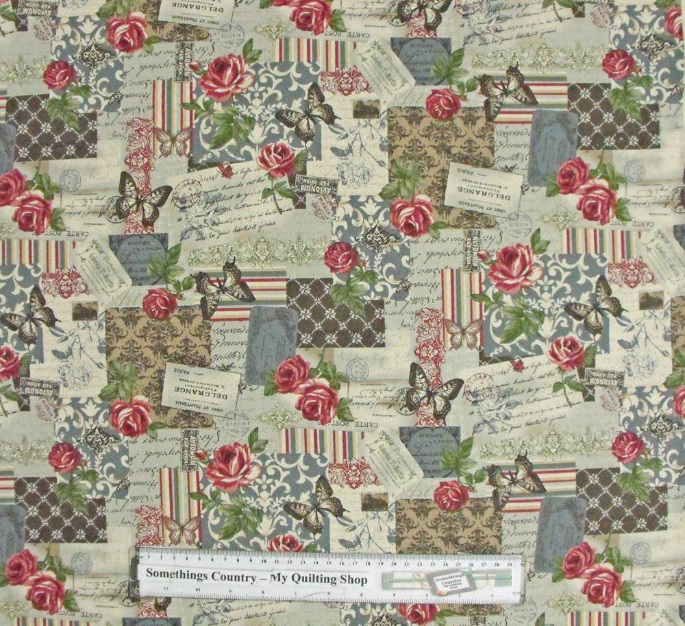 Patchwork quilting fabric blue roses butterfly linen for Cotton quilting fabric