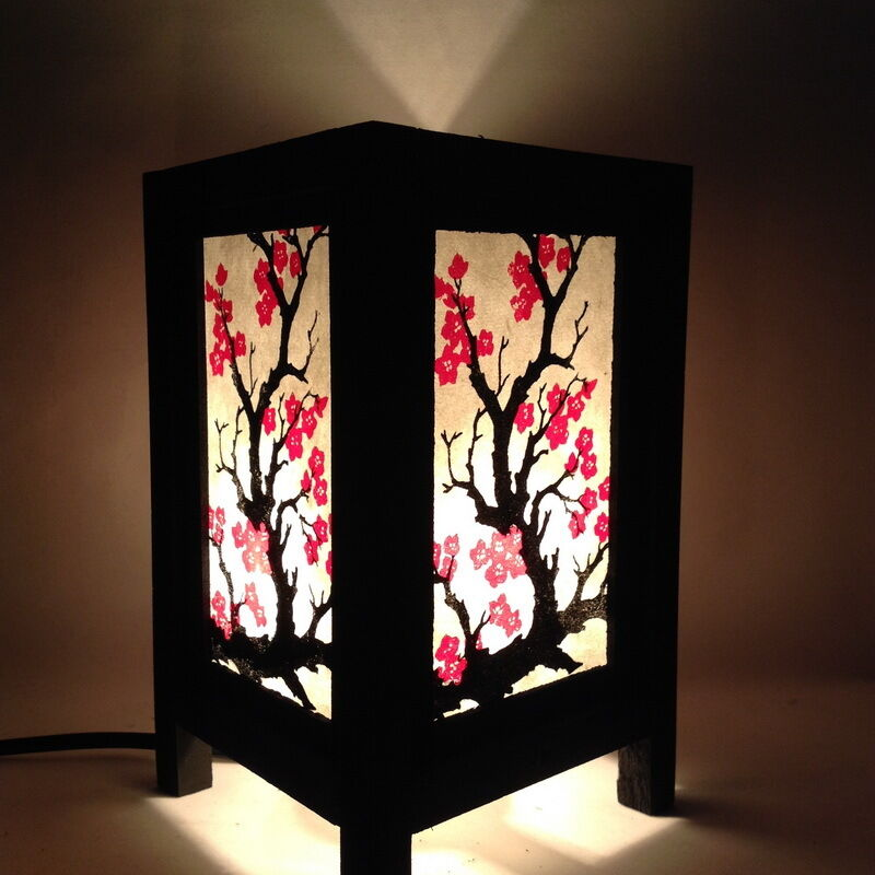 Jp Decor: Bedside Table Lamp SAKURA Japanese Blossom Paper Lantern