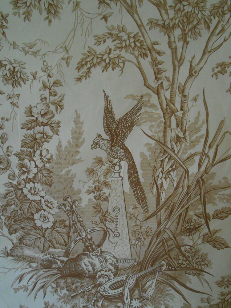 Rare vintage french fabric by marius boudin jouy for French toile fabric