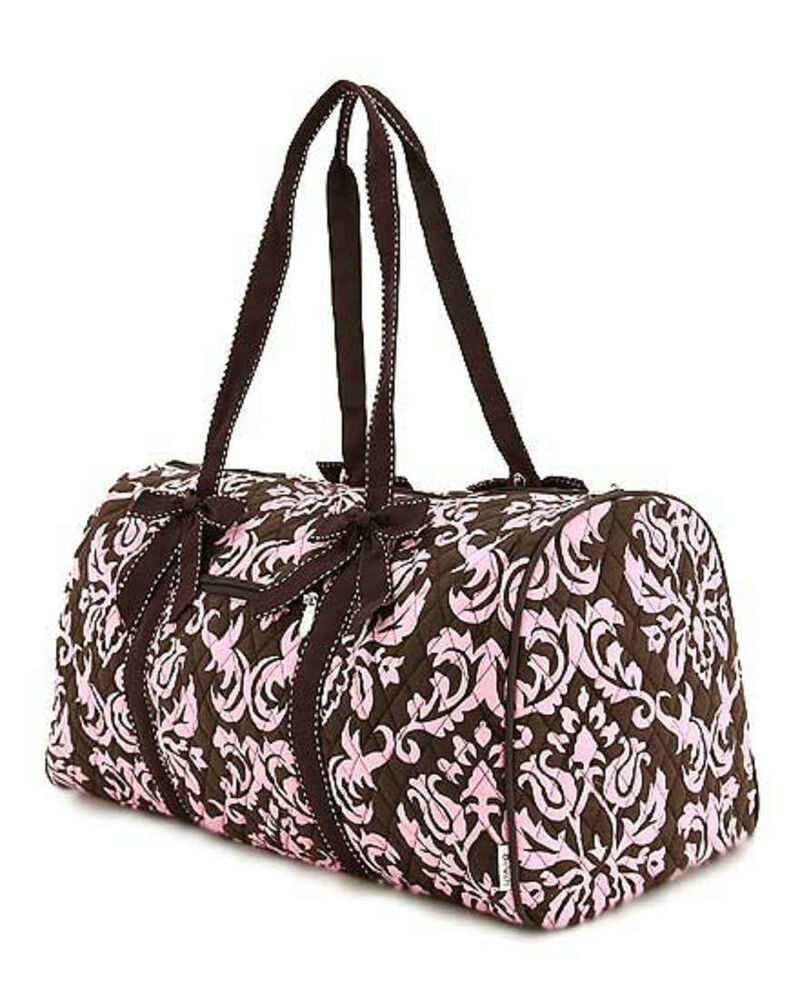 brown pink damask quilted carry on duffle bag luggage ebay