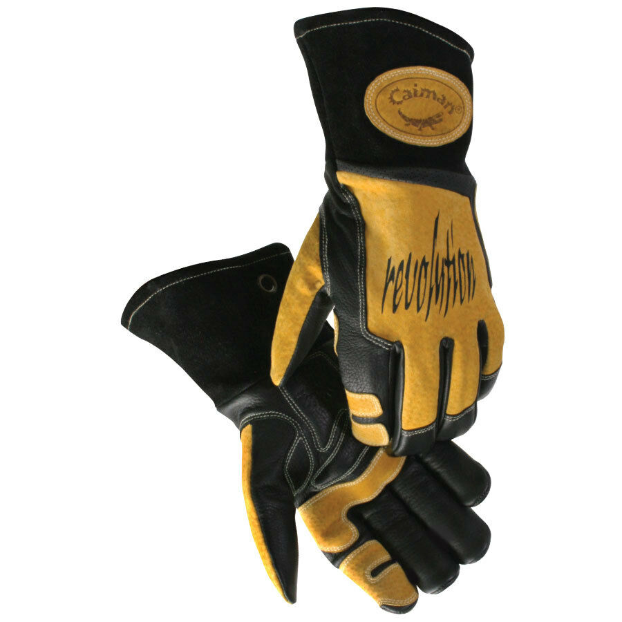 caiman 1832 mig stick welding gloves cow grain leather kevlar stitched x large ebay. Black Bedroom Furniture Sets. Home Design Ideas