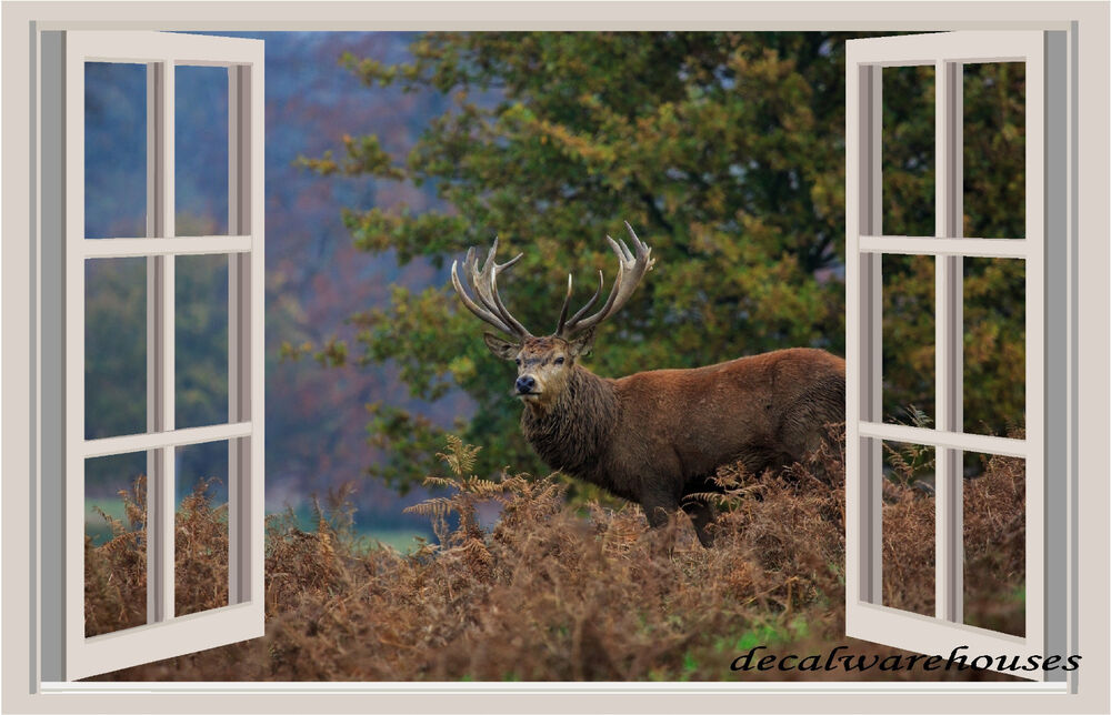 Deer nature window view repositionable color wall sticker for Deer landscape wall mural