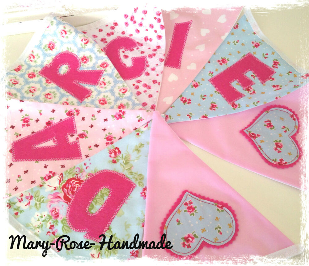 Baby girl personalised name bunting designer fabric incl for Baby girl fabric