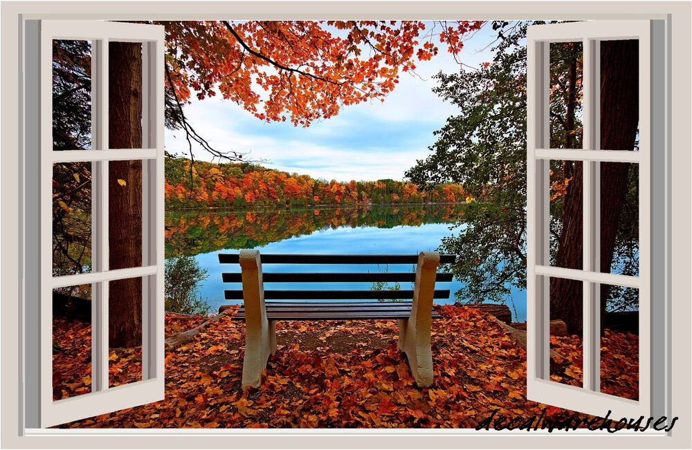 Lake Bench Autumn Window View Repositionable Color Wall