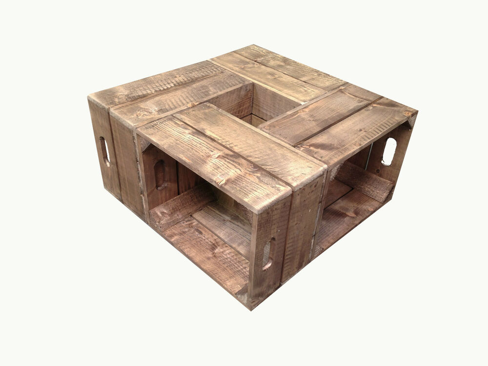 Handmade Rustic Wooden Crate Coffee Table For Home Garden Ebay