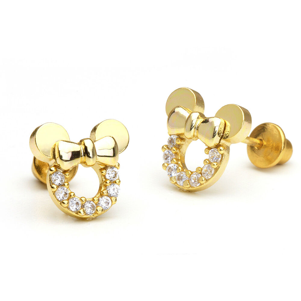 14k Gold Plated Mouse Children Screwback Baby Girls